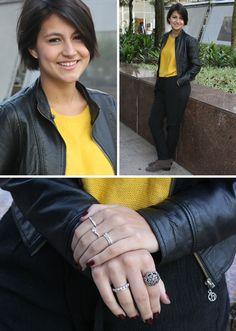 Marina Domingues, repórter de moda, usa jaqueta comprada em lojinha de Nova York, tricô garimpado no Bom Retiro, calça Zara, anéis arrematados na rua 25 de março e botas Corello