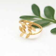 Gold leaf ring by laonato on Etsy, $12.00