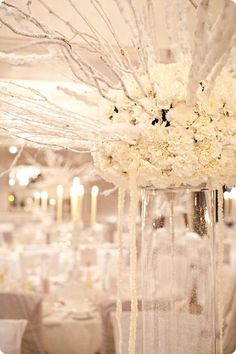 Love the white branches The Editorials: All White Weddings
