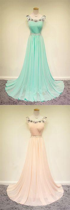Cute Pink Green Chiffon Long Prom Dress with Beadings Sweep Train Popular A-line Evening Dress chiffon prom dresses, 2015 formal dresses, colorful evening dresses, long train prom dresses