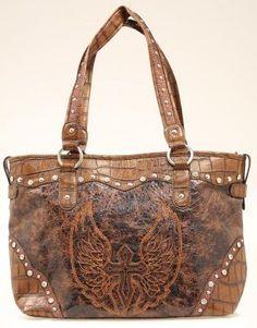 Blazin Roxx Brown Cross & Wings Tote Bag.