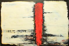 Textured oil painting  Abstract contrast colors Red line with black white yellow Modern art decor Housewarming gift Office art Ready to hang by SyzymStudio on Etsy