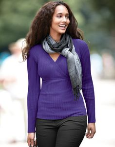 Rib Knit Jumper in Purple by Pepperberry