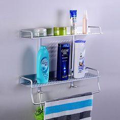 Space Aluminium Bathroom Double-deck Storage Shelf with Hooks - USD $ 29.99 Cheap Baths, Cheap Bathrooms, Deck Storage, Storage Shelves, Bath Accessories, Kitchen Accessories, Shelf Hardware, Double Deck, Bathroom Shelves