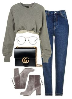 """""""Untitled #1999"""" by sarahs-clothes ❤ liked on Polyvore featuring Topshop, Ashish, River Island, Gucci and Linda Farrow"""