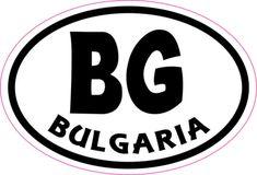3in x 2in Oval BG Bulgaria Sticker Vinyl Cup Decal Bumper Stickers