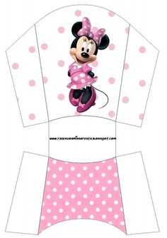 Minni in Rose Polka Dots: Free Printable Party Boxes. Mickey E Minnie Mouse, Paper Box Template, Diy And Crafts, Paper Crafts, Minnie Birthday, Party In A Box, Disney Crafts, Mouse Parties, Paper Toys