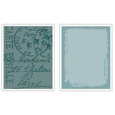 Sizzix Texture Fades Embossing Folders 2PK - Distressed Frame & Postal Set $10.99