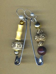 brown and beige earrings- beads on safety pins by donna kuhn  $15