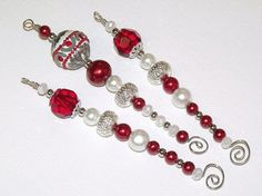 Red Silver and White Christmas Icicle Ornaments by CJKingOriginals
