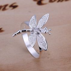 Dragonfly Story with .925 Silver Cubic Zirconia Dragonfly Ring - Momento of a Loved One Passed by lacyscott on Etsy