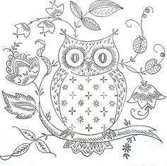 Paper Embroidery Today's freebie is for all owl fans who love to stitch. I found this owl embroidery by who stitched this for her sister-in-law. Owl Embroidery, Cross Stitch Embroidery, Embroidery Designs, Vintage Embroidery Patterns, Machine Embroidery, Medieval Embroidery, Eyebrow Embroidery, Embroidery Tattoo, Stitching Patterns