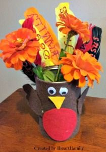 Kids DIY ~Thanksgiving Turkey Centerpiece #craft - 1 Heart, 1 Family