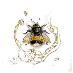 #bumblebee #miniaturepainting #watercolor #bee