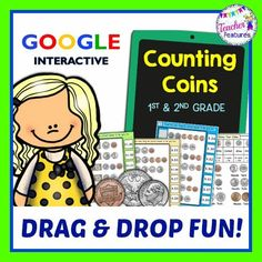 *1st & 2nd Grade* This Google Classroom math resource has 105 coin counting and bill counting problems. 15 interactive slides with movable pieces. #tptdigital