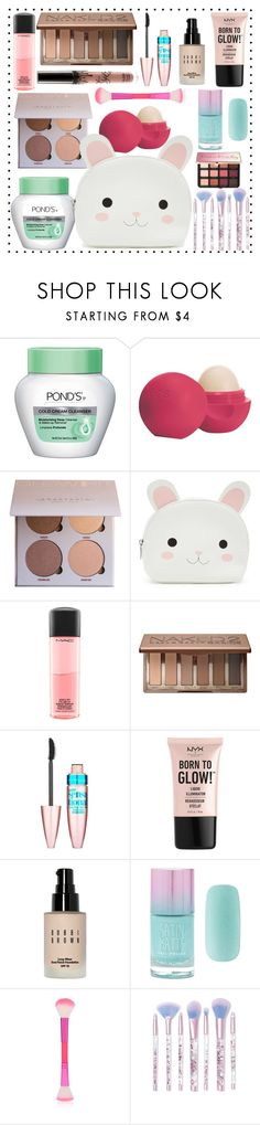 """""""What's in my makeup pouch?"""" by soniaxfall ❤ liked on Polyvore featuring beauty, Eos, Forever 21, MAC Cosmetics, Urban Decay, Maybelline, NYX, Bobbi Brown Cosmetics, Lime Crime and Sephora Collection"""