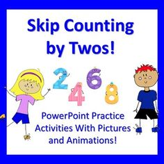 This PowerPoint includes 46 slides and 4 activities for students to complete as a group or individually on a computer or iPad.  Students will practice counting objects (eyes, ears, shoes, parts of a mustache and twins) by twos to 20.  They will practice finding the multiples of two within numbers 1-20 and finding the missing number when counting by twos to 20.