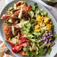 Nothing completes a chicken-topped salad like a creamy avocado dressing! This recipe is way better than your usual boring salad. Grilled Chicken Salad, Chicken Salad Recipes, Healthy Chicken, Recipe Chicken, Poached Chicken, Avocado Dressing, Healthy Snacks, Healthy Eating, Healthy Recipes