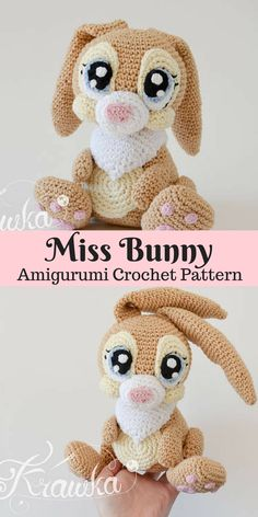 Miss Bunny Amigurumi crochet pattern. Create this cute little bunny for your kids or yourself. She looks so sweet! #bunny #ad #amigurumi #crochet #pattern