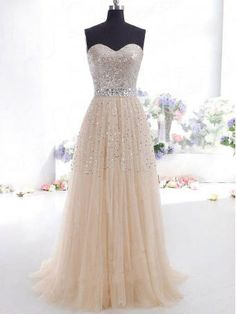 Sweetheart Long Tulle Sequin Prom Dress 2014 by 7thprincess, http://loverdress.storenvy.com/collections/416338-prom-dresses/products/13955634-tulle-a-line-prom-dresses-prom-dresses-online-discount-prom-dresses-dress
