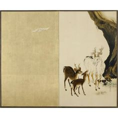 Deer and Bat. Shibata Zeshin (Japanese, 1807-1891) approx. 1880-1891. Two panel folding screen. Lacquer and gold leaf on paper. The bat is the white thing on the left panel.