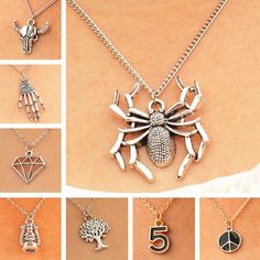 SPIDER GEOMETRIC SIMULATED PEARLS TREE BULL FASHION JEWELRY STEAMPUNK NECKLACES & PENDANTS
