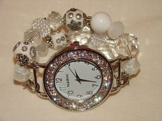 White and Crystal Chunky Beaded Watch Band and Face  by BeadsnTime, $30.00