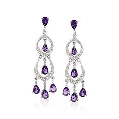You'll love the shimmer and shine of these beguiling 8.20 ct. t.w. amethyst and .10 ct. t.w. diamond chandelier earrings! Diamonds provide a dash of dazzle for the arching earrings, while the amethyst drops glimmer in elegant splendor. >>Click on the Amethyst Earrings for more styles.