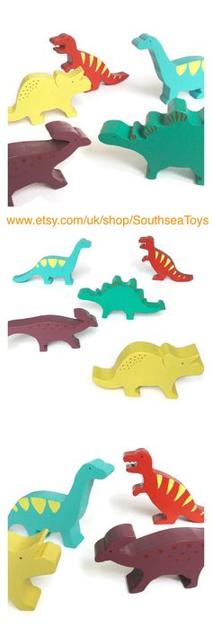 Set of 5 wooden toy dinosaurs - including a stegosaurus, a triceratops, a parasaurolophus, a T-Rex and a diplodocus Your child will have hours of fun playing with the figurines. The pieces are made of solid pine wood. This dinosaur set has been hand cut, painted with non-toxic paint and varnished with an organic varnish (all certified toy safe). All the pieces have been sanded and the edges rounded to make it soft for childrens little hands. All the wood comes from sustainably managed…