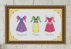Disney+cross+stitch+pattern+Disney+princess+dress+cross+stitch