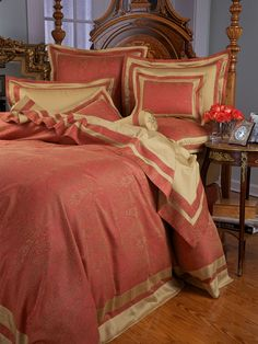 Nobility Bedding - Fine Bed Linens - Like jewels in a crown, Red and Gold paisley damask of 500 thread count, Egyptian cotton sateen, glows with the unmistakable aura of aristocratic lineage