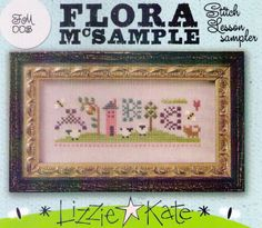 Lizzie Kate Stitch Lesson Sampler Chart Linen Beads Kit #LizzieKate