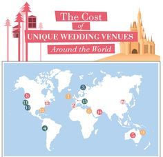 Ever wonder how much it costs to get married at the Eiffel Tower or Disney World? Check out this #infographic to see the cost of unique wedding venues around the world.