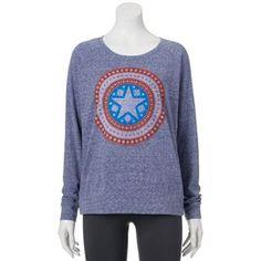 Juniors' Marvel Captain America Christmas Snowyarn Sweatshirt ...
