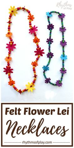 Learn how to make a flower lei necklace with this simple tutorial. These handcrafted jewelry pieces, made with felt flowers and beads, are a great gift idea for graduation or Mother's Day. They also make for a fun birthday party favor or craft! Paper Bag Crafts, Tissue Paper Crafts, Flower Lei, Flower Crafts, String Crafts, Bead Crafts, Rainbow Flowers, Felt Flowers, Birthday Party Favors