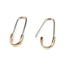Bronze And Sterling Silver Safety Pin Earring By Perine Cap Of In