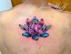 Watercolor Lotus Tattoo. Tattooed by @javiwolfink www.facebook.com/javiwolfink