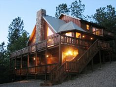 The views of the Kiamichi Mountains are breathtaking from the decks of Mountain Vista cabin in Broken Bow, Oklahoma.
