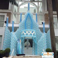 Frozen ice castle balloon party entrance.