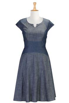 Two-Tone Chambray Dresses, Drop Waist A-Line Dresses Shop Online Womens Designer Dresses | Sundresses | Women's Sundresses | Plus Size Sundresses | Petite Sundresses | | eShakti.com
