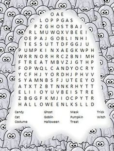 Halloween Word SearchThe words are mostly across and down.Enjoy!If you like this product, I would love to hear your feedback about it!