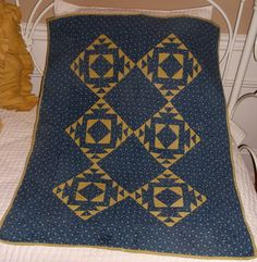 Vintage Antique Crib Baby Quilt Blue Yellow Hand Pieced Quilted Quilt | eBay, oliviaterry
