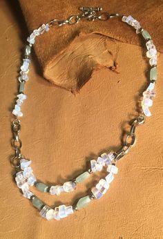 Handmade Genuine White Opal Green Aventurine Stone Silver multi strand layered Necklace Jewelry by WishboneJewelryCraft on Etsy