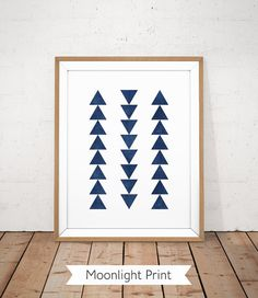 Navy printable, Navy blue print, Geometric abstract wall art, Triangle poster…