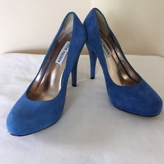 Blue Suede High Heels Barely worn! Does not come with original box. Steve Madden Shoes Heels