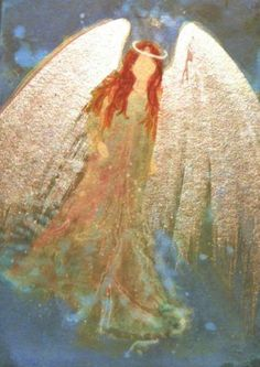 ACEO Cape Cod Artist Original Acrylic Painting Healing Angel Metallic Shine