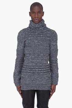JUUN.J Grey Thick Wool Turtleneck