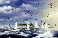Battle of the Coral Sea, 8 May 1942. Artwork by John Hamilton, depicting Japanese carrier planes attacking USS Lexington (CV 2).