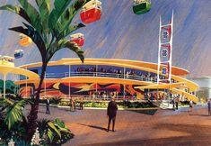 Tomorrowland at Disneyland Walt Disney Imagineering, Walt Disney Co, Old Disney, Disney Magic, Disney Land, Disneyland Tomorrowland, Disneyland Rides, Disneyland Resort, Vintage Disneyland