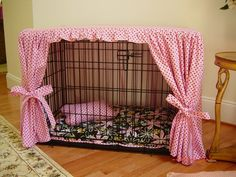 Dog crate cover diy-ideas...  crate bling!